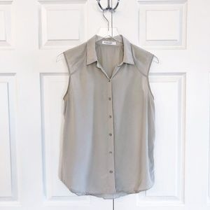 Everlane Silk Sleeveless Button Up Blouse